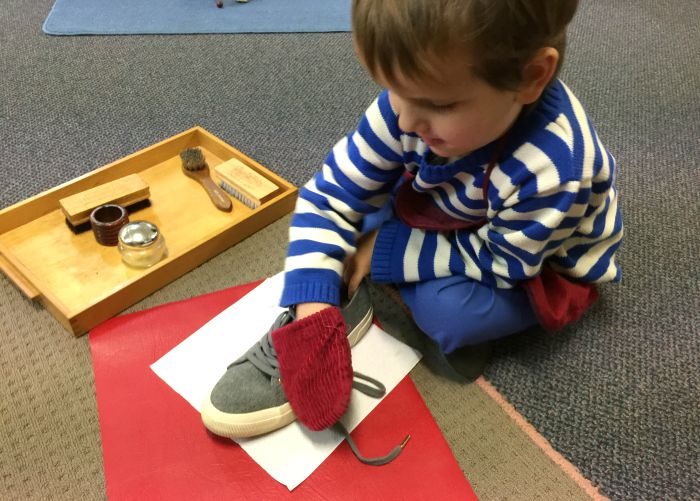 Otis cleaning shoes at Montessori School Parent Child Night August 2015