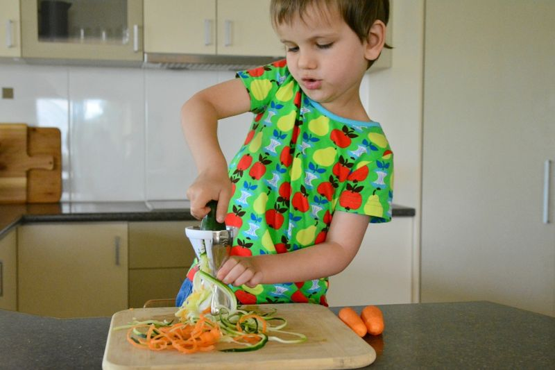 Otis using vegetable spiralizer