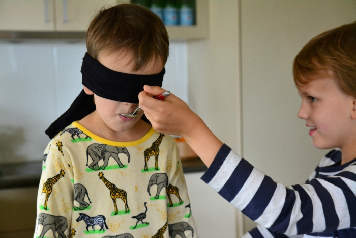 Blindfold taste test at How we Montessori