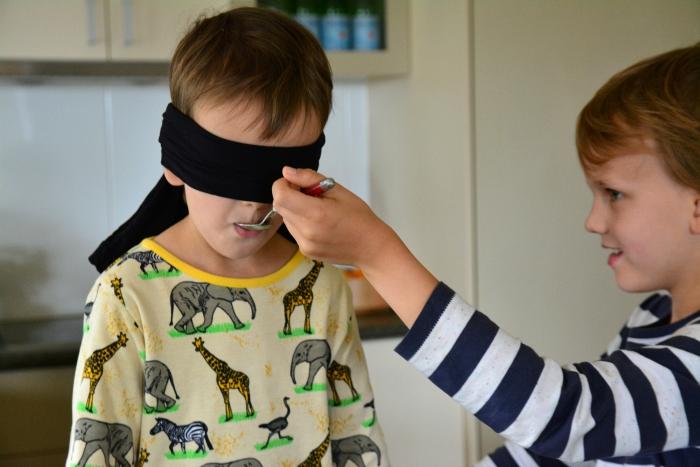 Blindfold taste test at How we Montessori