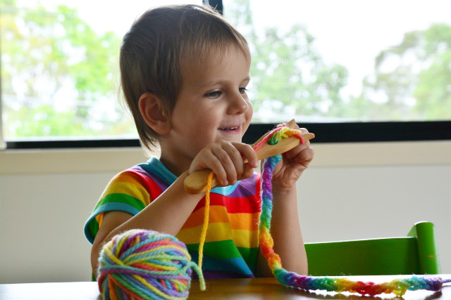 Using a knitting fork at three years at How we Montessori