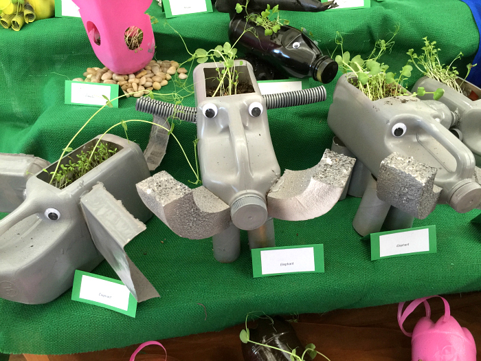 Otis' upcycled elephant at school art festival