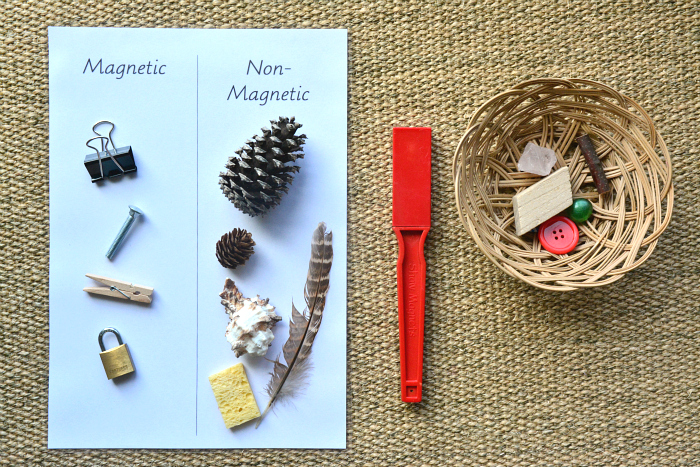 Montessori Magnetic, Non-Magnetic Activity in action with card