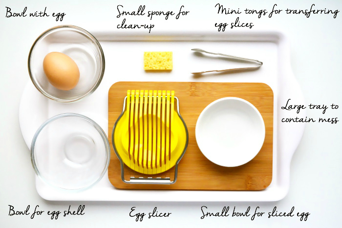 Montessori Egg Slicing Tray at How we Montessori