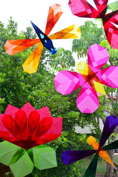 Window Butterflies Dragonflies and Flower using kite paper at How we Montessori