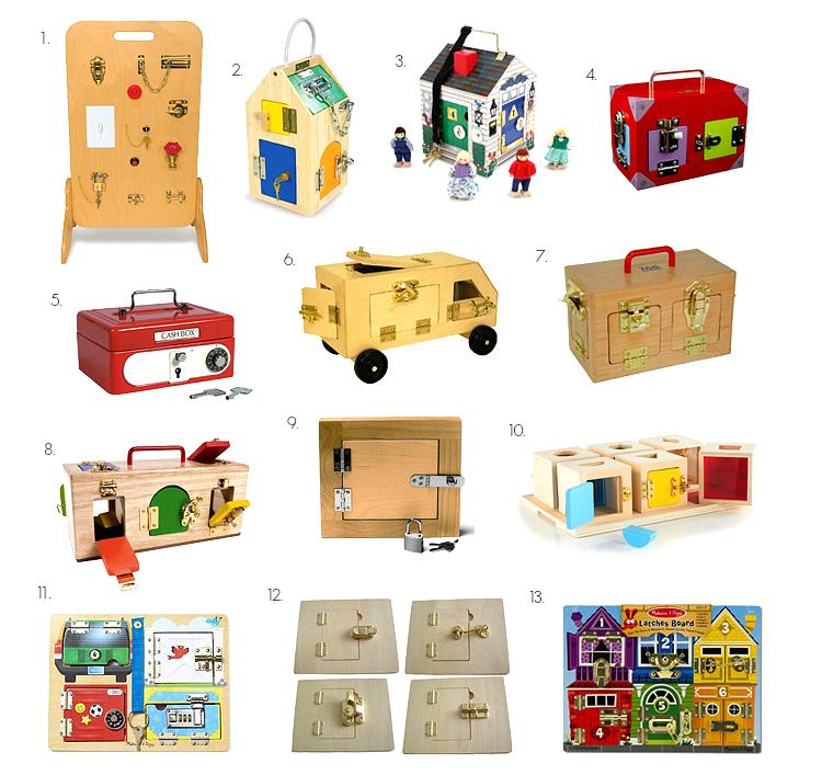 Montessori Lock box and latch board at How we Montessori