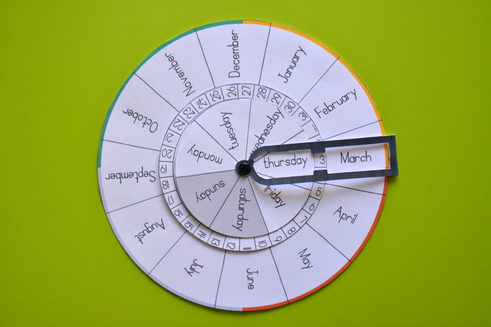 Montessori perpetual calendar at How we Montessori