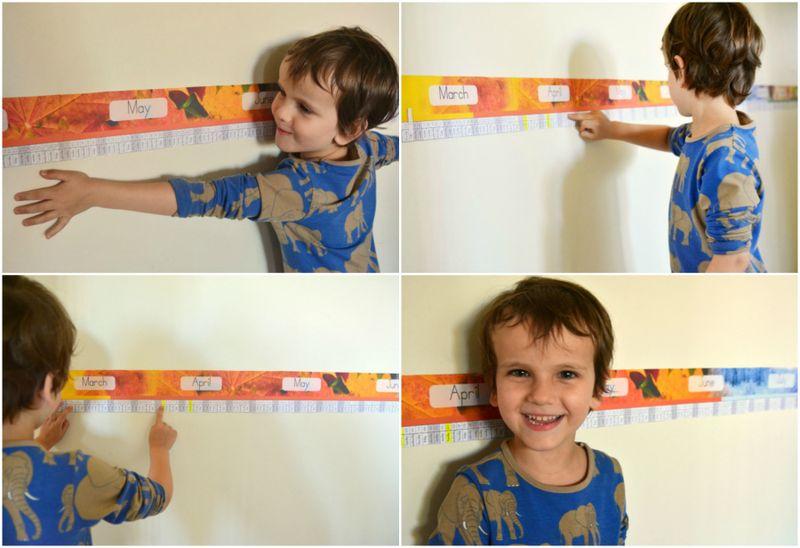 Otis Montessori beam linear calendar at How we Montessori poutres du temps