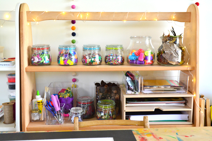 How we Montessori collaging shelf