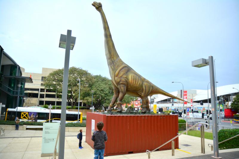 Caspar and Otis outside Queensland Museum, Dinosaur Discovery Exhibition