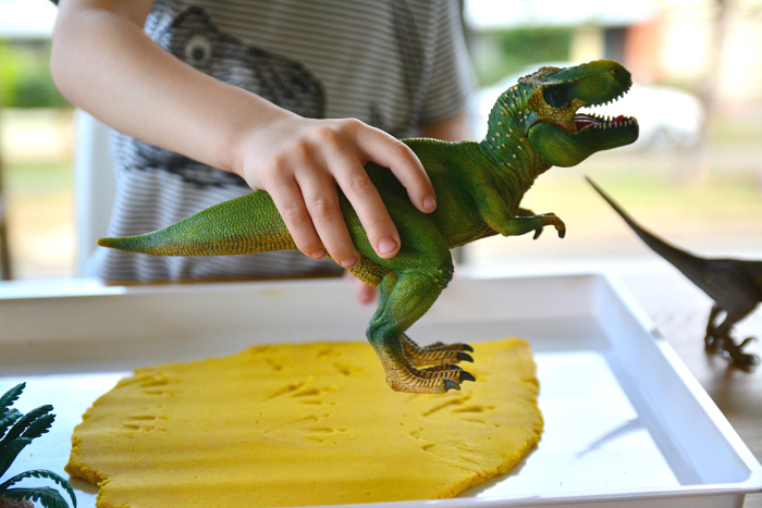 Footprints in the playdough at HWM Dinosaurs