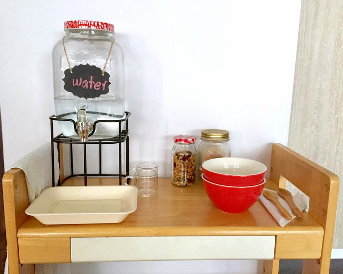 Three Minute Montessori - Drink Station at How we Montessori