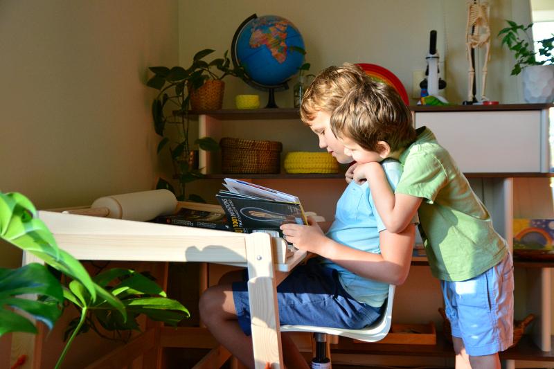 Caspar and Otis reading at IKEA FLISAT Children's desk adjustable