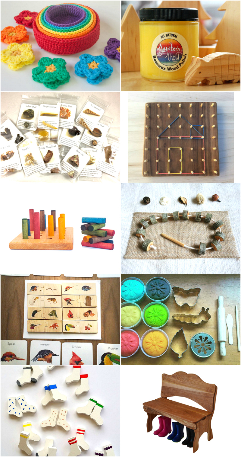 Montessori Materials for the Home on Etsy from How we Montessori