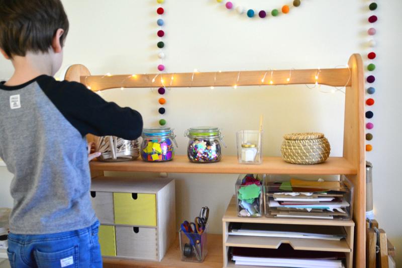How we Montessori Art area at Five