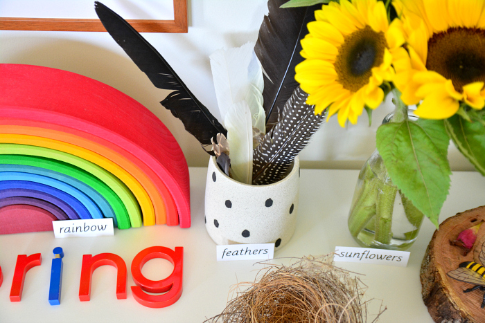 Feathers, Spring Nature Table at How we Montessori