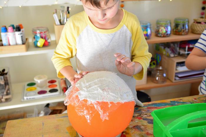 Otis making plaster bowl