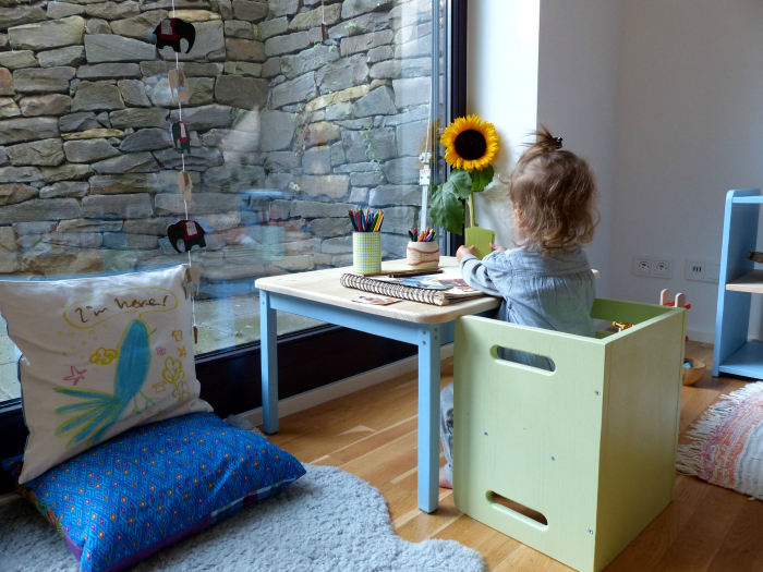 Montessori Home, Child's low table and cube chair