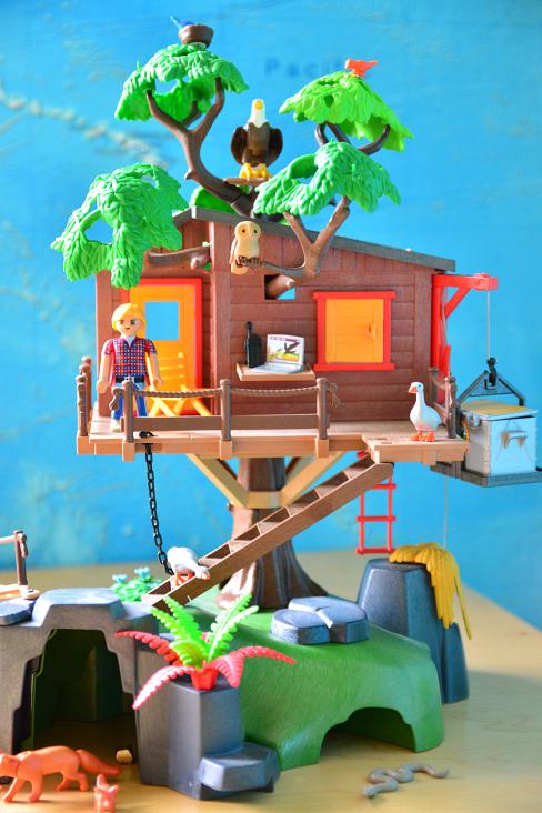 Otis at How we Montessori Pretend Play - Playmobil Adventure Treehouse