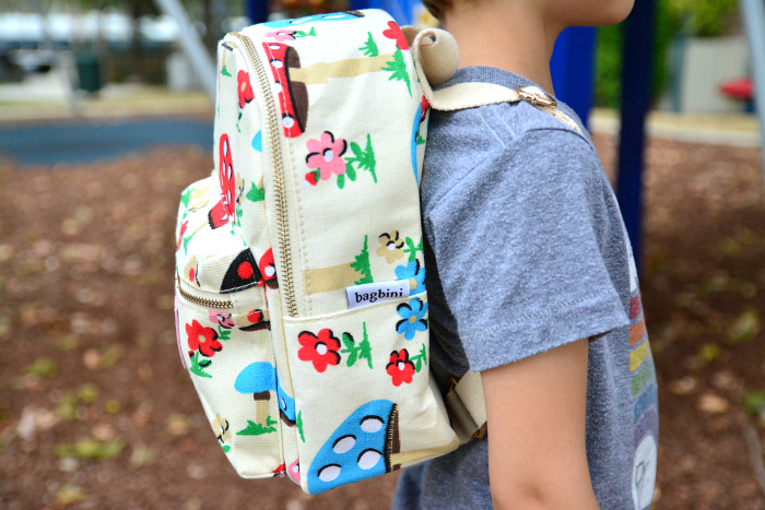 Otis at 5 years wearing the Bagbini Montessori Backpack at HWM