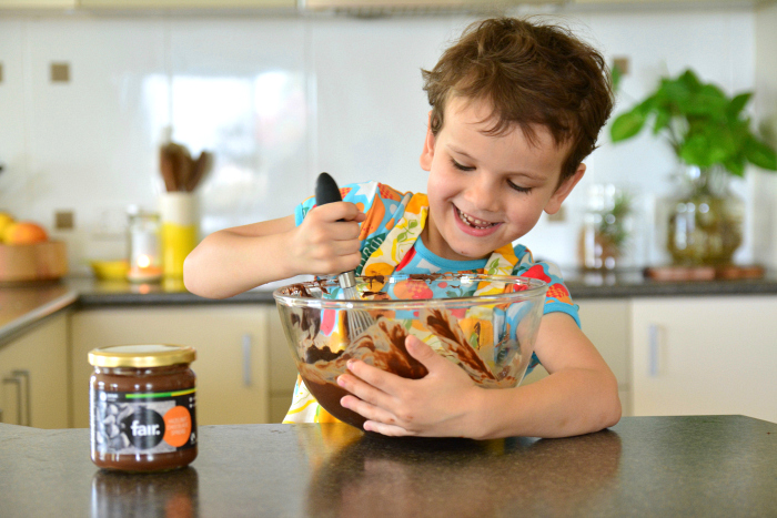 Otis whisking brownie mixture - Ethical Christmas with Oxfam #2