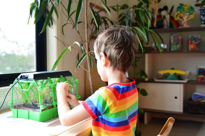 Otis tasting herbs at How we Montessori