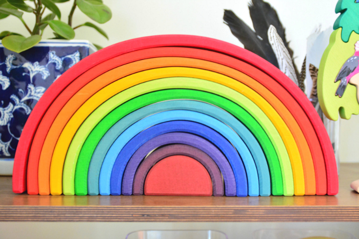 How we Montessori - Grimm's Stacking Rainbow