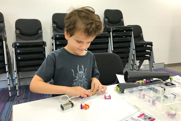 Oits at a Free Library Workshop on Little Bits at How we Montessori, 5 yrs