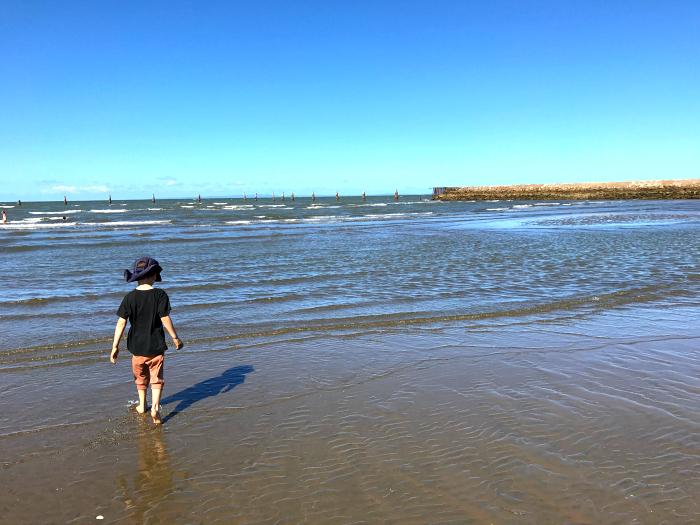 Saturday afternoon - Otis walking at beach