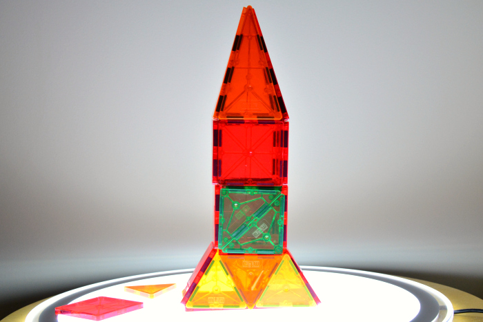 Otis' rocket using magnetic tiles at How we Montessori