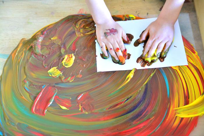 Otis' finger painting at How we Montessori