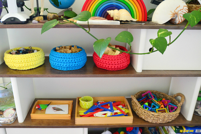 Work Shelves ar Five at How we Montessori