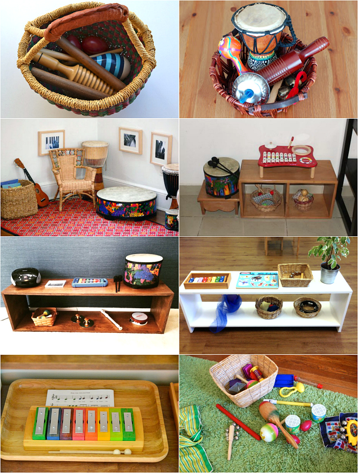 Montessori music baskets and shelves at HWM
