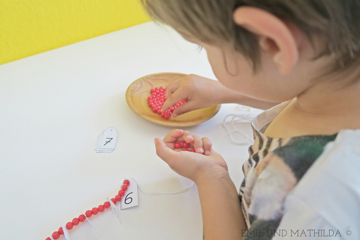 Counting with wooden beads