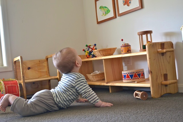 Otis looking up at images at How we Montessori