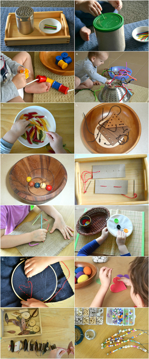 Sewing and Threading Activities  12 months to four years at How we Montessori