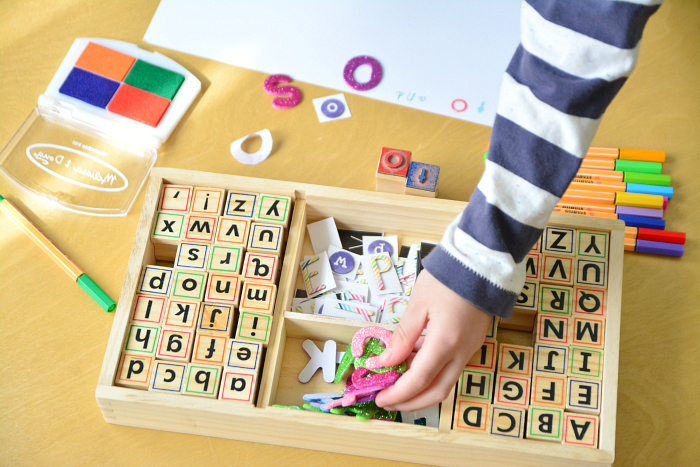 HWM Multi Media Literacy Tray  Stickers  Stamps  Pens