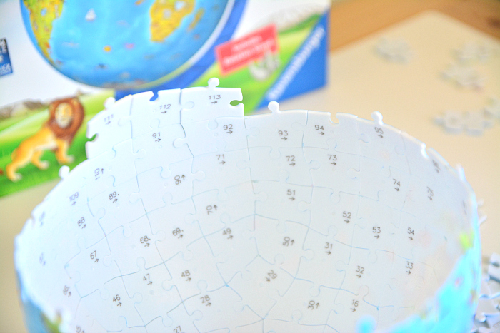 Puzzle Globe  Inside numbers at How we Montessori