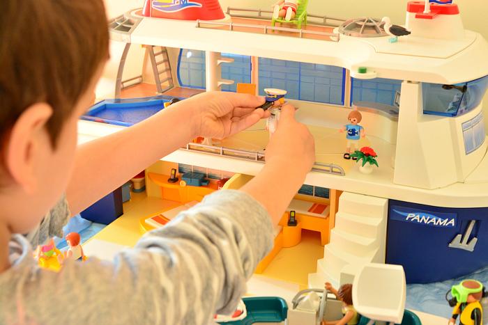 Playmobil cruise ship  at How we Montessori  Otis with captain