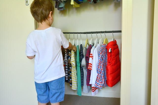 Otis using the wardrobe extender