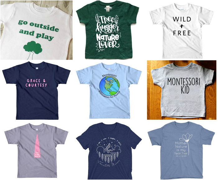 Fun Montessori  Nature and Homeschool Tees for Kids