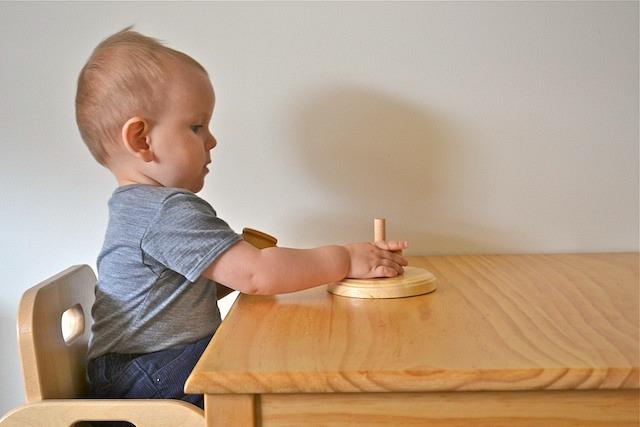 Otis Beginning Montessori Stacker at 11 months at How we Montessori