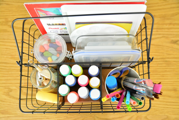 Children's art basket at How we Montessori