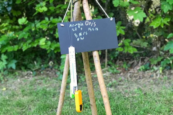 Otis' weather station  child's wind vane at How we Montessori