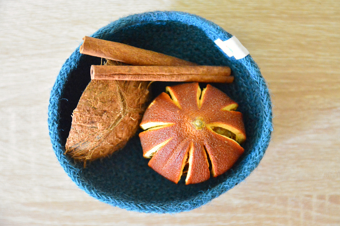 DIY Dried orange for sensory work at How we Montessori in basket