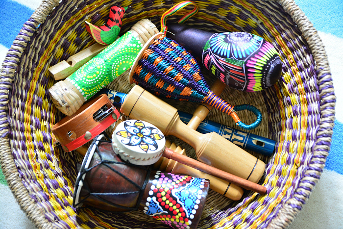 Montessori music basket at How we Montessori  fair trade authentic musical instruments for children