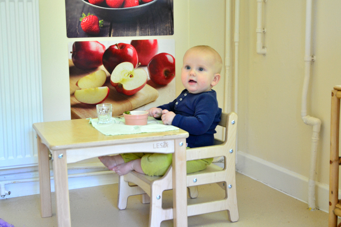 Otto using weaning table at eight months at HWM