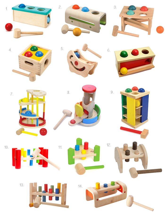 Pounding and hammering toys for the Montessori baby 9-18 months at How we Montessori*