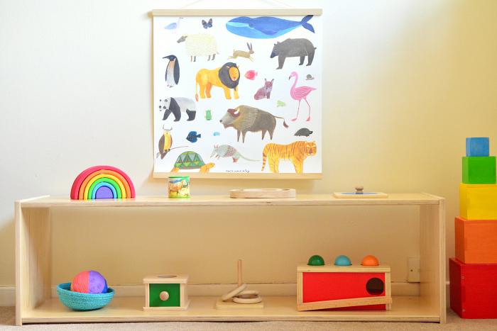 Montessori low shelves at How we Montessori