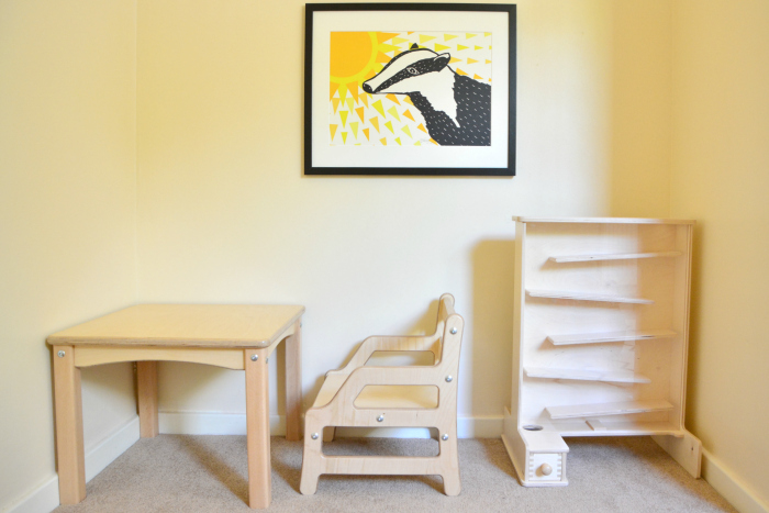 Otto's Montessori room bed and table